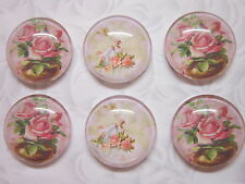 6 pcs Handmade pink vintage roses bird Glass round Cabochons 25 mm findings