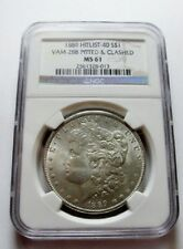 1889 P MORGAN DOLLAR VAM-28A Doubled Ear Far Date Pitted DO NGC MS61 HIT LIST 40