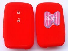 RED SILICONE CAR KEY COVER CASE for TOYOTA 2 BUTTON SMART KEY