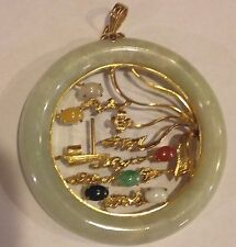 "Jade Multi-Stone 18k Yellow Gold Large 2"" Circle Pendant Stairs (NOT 14k)"