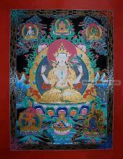 """48"""" x 36.75"""" Chenrezig/Avalokiteshvara Tibetan Buddhist Thangka/Thanka Painting"""