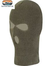 Olive Knitted 3 Hole SAS Balaclava Army Ski Mask Winter Fishing Paintball Hat