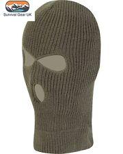 Olive Knitted 3 Hole SAS Balaclava Army Ski Mask Winter Fishing Paintball Hat