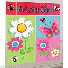 GARDEN GIRL WALL POSTER DECORATING KIT (5pc)~ Birthday Party Supplies Flowers