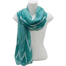 Turquoise Green and White Chevron FASHION Scarf