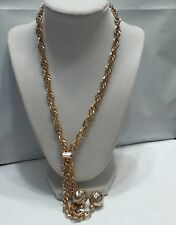 Vintage Gold Tone Thick Lariat Silde Necklace