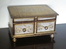 Vintage Florentine Wooden Tole Jewelry Box Shabby Italian Style Music Japan Gold