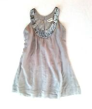 100% SILK CLOUDY GRAY SEQUIN EMBELLISHED SCOOPED NECK FLARE DRESS M/L 8 10 12
