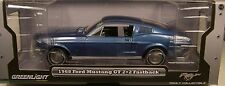 GREENLIGHT 1:18 SCALE DIECAST METAL ACAPULCO BLUE 1968 FORD MUSTANG GT FASTBACK