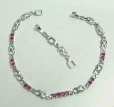 9k White Gold Plated Chain Bracelet Simulated Ruby Red Gemstone