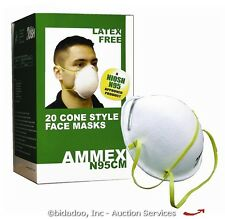 Lot (40) Ammex N95 Cone-Style Industrial Face/Dust Mask NEW - bidadoo Auctions