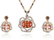 Fashion Women Rose Gold Plated Yellow Crystal Rhinestone Necklace Earring Set