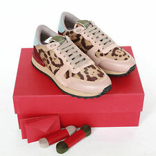 VALENTINO GARAVANI cheetah pony fur pink rockstud sneakers cow hide shoes 35 NEW