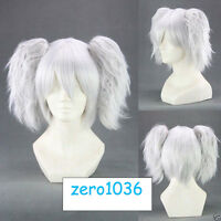Short Silver Soul Silvery white Anime Cosplay wig+2Clip On Ponytail COS WJY790