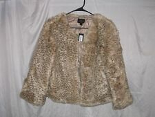 Worthington Women's Leopard Print Faux Fur Cropped Jacket Coat Size Large NEW