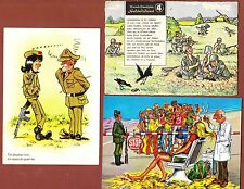 SET OF 3 COMIC POSTCARDS MILITARY GERMANY, SPAIN AND FRANCE
