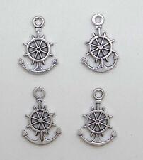 12 breloques pendentifs roue et ancre marine en métal argenté vieilli -bc201