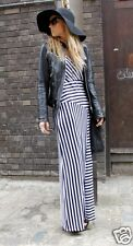 SIZE 8 10 MAXI LONG DRESS SUMMER NAUTICAL STRIPED  BLOGGERS FAV #  US 6 EU 38