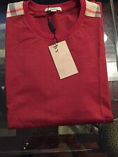 New Burberry Red Patch Shoulder Nova Check Plaid Men T-shirt M / S $225