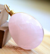Natural Crystal Gemstone Rose Quartz Hand Wired Drop Shape Large Pendant Rare