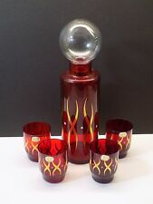 Vintage 1960's Czech Atomic Ruby Bohemian Art Glass Cocktail Decanter & Glasses