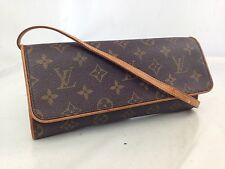 Authentic Louis Vuitton Monogram Pochette Twin GM Shoulder Pouch Brown 7D120120