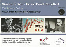 TUC Library advertising postcard Workers' War Home Front Recalled LMU London