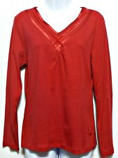 White Stag Ladies Cherry Red Cotton Sateen Trim Shirt - Size S (4 - 6)