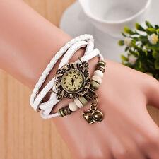 Fashion Women Bracelet Watch Weave Around Leather Cat Analog Quartz Wrist Watch