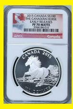 2015 CANADA S $100 PURE SILVER CANADIAN HORSE EARLY RELEASE NGC PF 70 UC BOX/COA