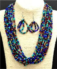 10 STRAND TURQUOISE GOLD GREY PURPLE LARGE SEED BEAD NECKLACE SET SILVER