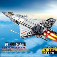 KAZI Building Blocks J-20 Fighter Plane Light Sound Gift #84030 322pcs
