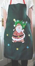 CHRISTMAS APRON- GREEN WITH EMBROIDERED SANTA PICTURE - LENGHT 74CM APPROX