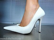 MORI MADE IN ITALY POINTY PUMPS SCHUHE PYTHON LEATHER DECOLTE WHITE BIANCO 38