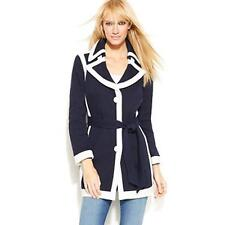 INC Women's Jacket, Single Breasted Contrast Trim Trench Coat (Navy/White, XL)