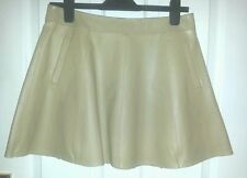 M&S Beige Real LEATHER SKATER MINI SKIRT Cuir uk10 us6 eu36 Waist w30ins w76cms