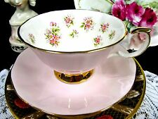 QUEENS ROSINA TEA CUP AND SAUCER PINK & ROSE FLOWER PATTERN TEACUP WIDE MOUTH