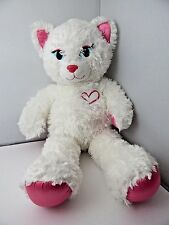 "Build A Bear Workshop White Cat Pink Heart Blue Eyes 18"" Glitter Nose"
