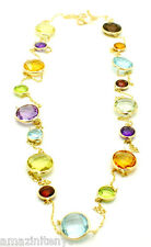 """14K Yellow Gold Fancy Cut Multi-Colored Round Shaped Gemstone Necklace 36""""."""