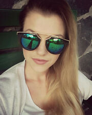So Real Sunglasses Black Aviator Green Mirror Designer Retro Fashion
