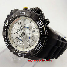 45mm Parnis white Dial rubber strap Full Chronograph date quartz mens Watch P659