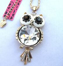 Betsey Johnson Shiny crystal Large glass Pretty owl pendant Necklace