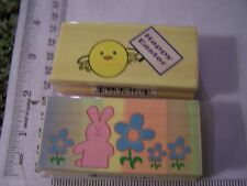 WM RUBBER STAMPS  WHIMSY  BUNNY RABBIT IN FLOWER GARDEN  HAPPY EASTER CHICK PEEP