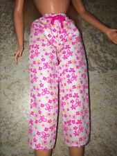 Barbie Doll Pink White Pajama Butterfly Daisy Floral Pants Capri's Bow
