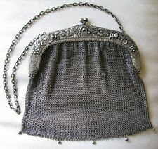 Antique Victorian Alpacca Silver Floral Basket Garden Mesh Purse RK Robert Kraft
