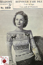 VINTAGE KNITTING PATTERN COPY 1930s-40s LADY'S REINDEER FAIR ISLE JUMPER SWEATER