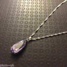 P145 Plum UK Large Purple Amethyst Pendant & Chain Silver (White Gold GF) BOXED