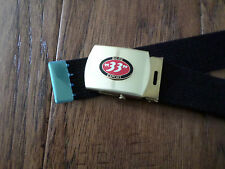 US MILITARY STYLE BLACK WEB BELT WITH BIERE 33 EXPORT BRASS BUCKLE