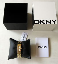 NWT DKNY Womens Astoria Gold/Silver Two-Tone Stitched Stainless Watch NY2140 NIB