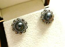 ROUND BLACK FRESHWATER PEARL MARCASITE 925 STERLING SILVER STUD EARRINGS